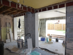 Hough Green extension plastering
