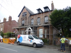 liverpool renovation front scaffold